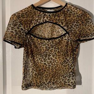 Urban Outfitters Mesh Cheetah Top